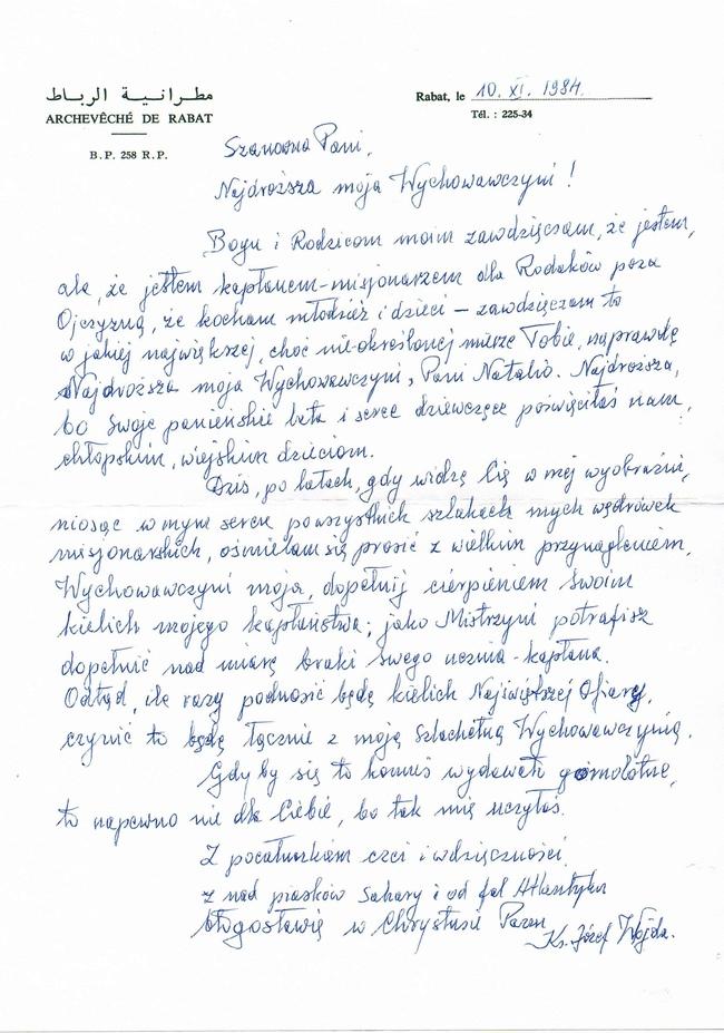 List wysłany przez ks. Wojdę z Maroka do pani Natalii Żurowskiej Machałowej