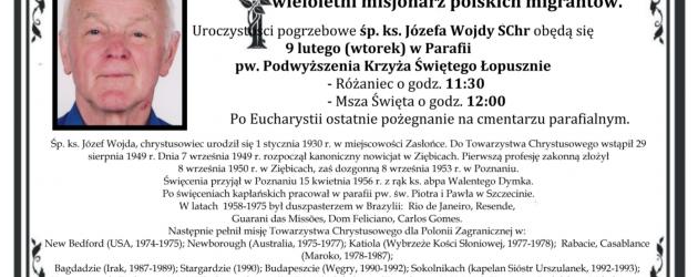 Zmarł ks. Józef Wojda SChr pochodzący z Zasłońca